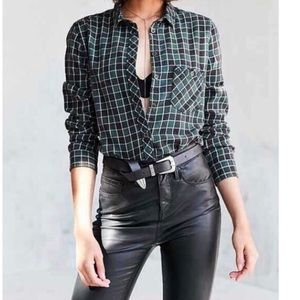 BDG Urban Outfitters Green and Black Plaid Flannel